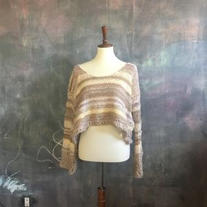Free People Cropped Chunky Knit Striped Sweater